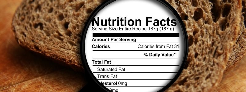 Bread Nutritional Label